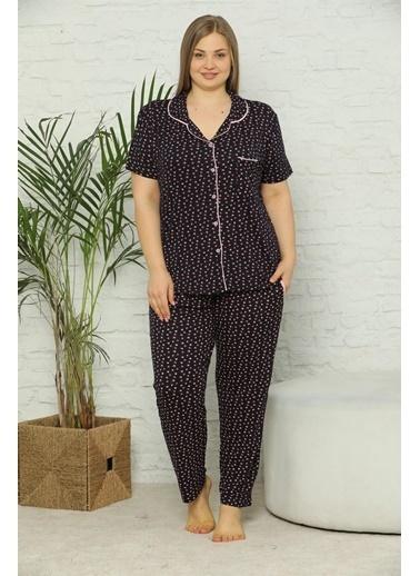 Akbeniz Kadın Pamuklu Cepli Kısa Kol Büyük Beden Pijama Takım 202074 Lacivert